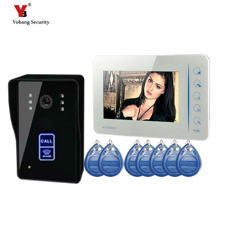 Yobang Security freeship Video Intercom Monitor RFID Card Reader 7 Doorbell Phone Home Security Color Wired for House Apartment yobang security freeship 7 video intercom for villa 2 monitor doorbell camera with 5pcs rfid cards hd doorbell camera in stock