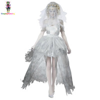 White & Gray Lace Shoulder Sleeves Ghostly Bride Scary Costume Halloween Party Adult Mummy Woman Dress Doom Ghost Bride Costumes
