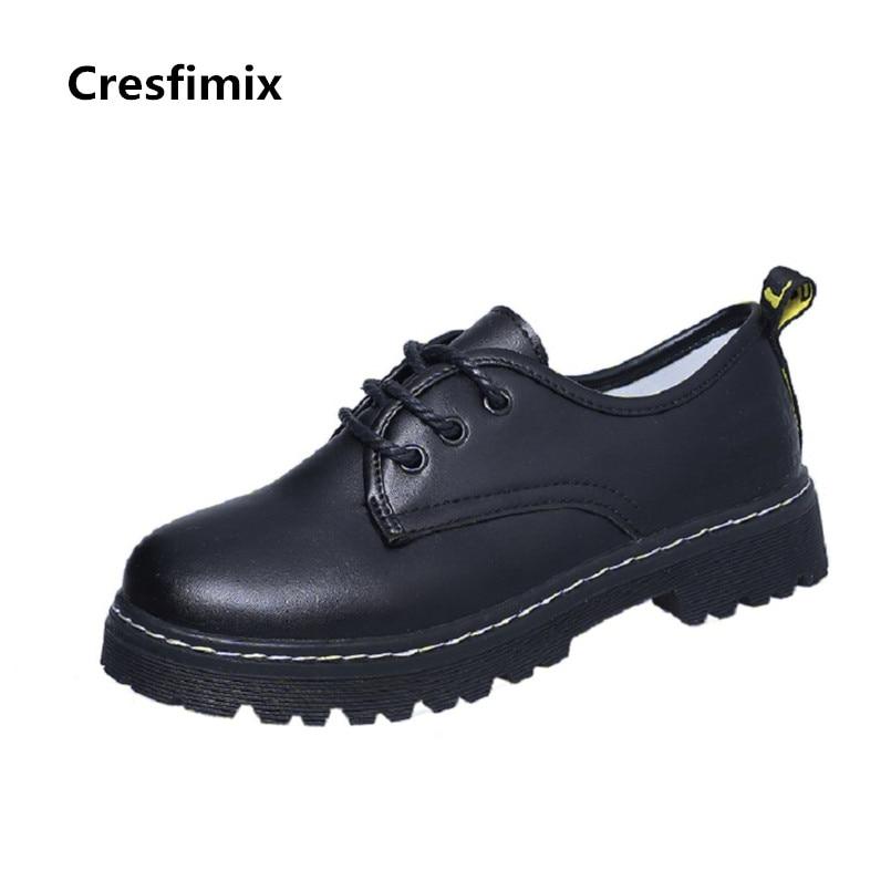 C2418 forme À Pu De Zapatos Plat Cool A Plate Mode 2018 Cuir Casual Cresfimix Chaussures Mujer Dame Lacets Noir Femmes Automne Hgqxzw
