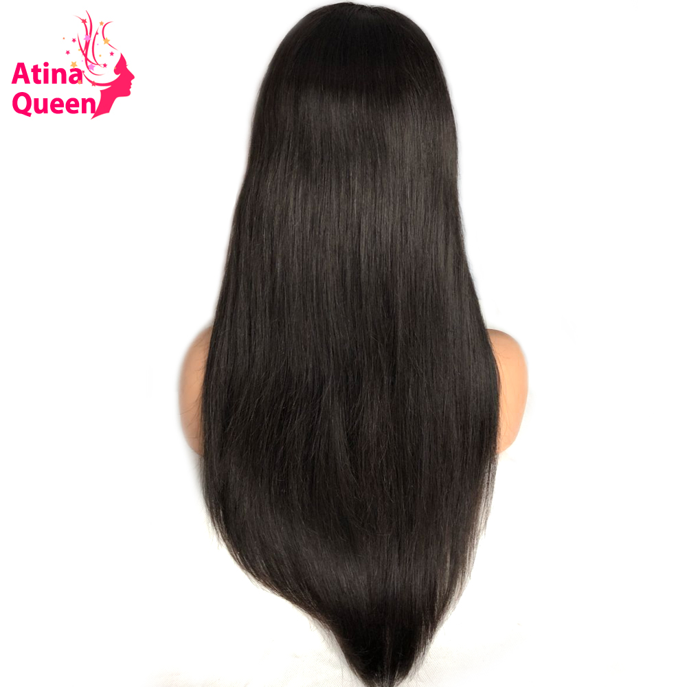 Atina Queen Gluless Lace Front Human Hair Wigs For Women 150 Density Brazilian Silky Straight Lace Wig with Baby Hair Remy Black-in Human Hair Lace Wigs from Hair Extensions & Wigs    2