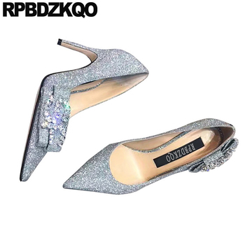 sequin diamond 2019 crystal thin bridal silver rhinestone heels pumps women 3 inch size 33 shoes glitter bow high pointed toe