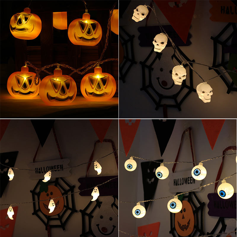 Woodpow Halloween String Lights Battery Powered Pumpkin/Ghost/Eyeball/Skull 10 LED Fairy Lights Halloween Holiday Party Decor 2 5m 10leds ghost led string lights halloween decoration
