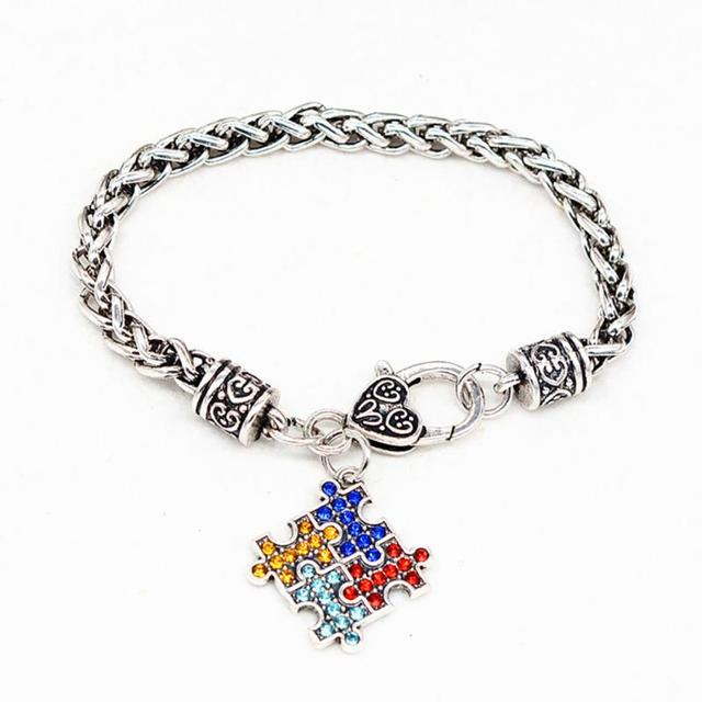 Favolook Charm Jewelry Bracelets Bangles Alloy Enamel Autism Awareness Puzzle Autistic Bracelet