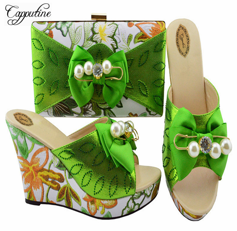 Capputine Latest African Ladies Shoes And Bags To Match Set Nigerian Party Shoes And Matching Bag Set Free Shipping YK1063 ds010 newest silver african matching shoes and bag set beautiful design european ladies slipper and bags sets free shipping