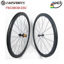 Дизайн! 38 мм x 23 мм Углеродные колеса для шоссейного велосипеда с 4 градусами на тормоз для велосипеда u-образный, ED ступицы и аэродинамические спицы