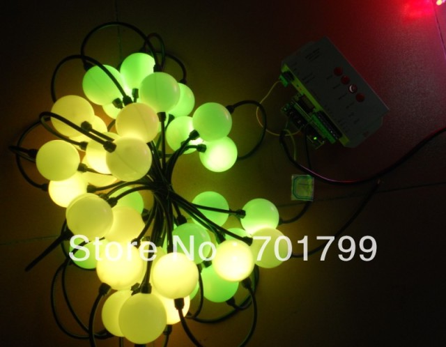 50pcs 360degree emitting 50mm diameter full color TM1804 pixel ball + 60w power supply+ T-1000S sd card controller