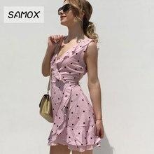 JSMY 2019 New Summer Pink Chiffon Dress Fashion Women Sling V-neck Ruffles Irregular