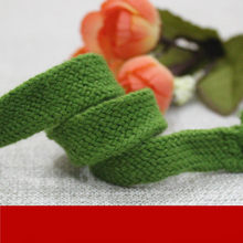 15mm wide green full cotton hollow flat rope double braided belt lace, waist band hat belt drawstring rope DIY(China)