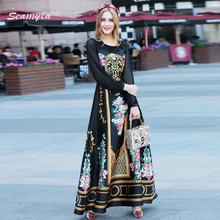 Seamyla 2017 High Quality Long Sleeve Runway Maxi Dress Women Fashion Vintage Printed Long Dress Black New Summer Dresses