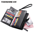 teemzone Trend All in One Wallet for iPhone New Male Bag Assured Leather Wrist Clutch Wallets Portefeuille Homme monederos J35