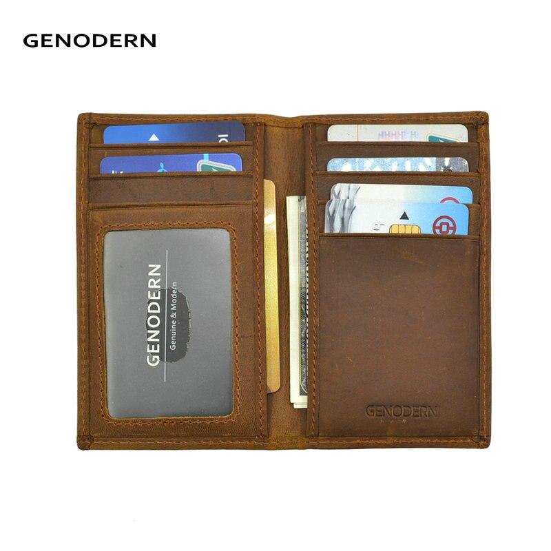 GENODERN Slim Thin ID Credit Card Holder RFID Genuine Leather Bifold Front Pocket Wallet Crazy Horse Leather Card Purse