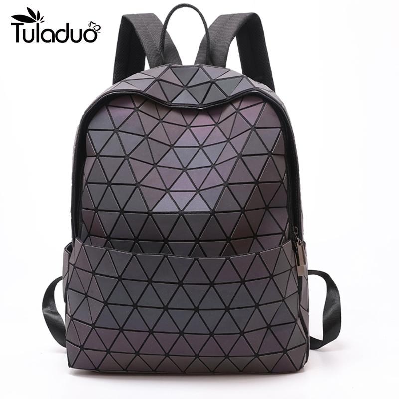 2019 Women Backpack Geometric Shoulder Bag Student's School Bag For Teenage Hologram Luminous Backpacks Laser bao bag backpack
