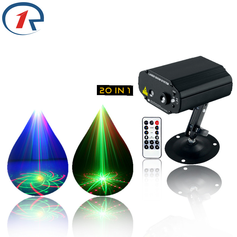 ZjRight LED Stage Lights 20 Patterns Laser projection IR Remote Red Green Blue disco light Xmas bar ktv dj holiday fairy lights кастрюли стальэмаль кастрюля 3 0 л bon appetit мокрый асфальт стальэмаль