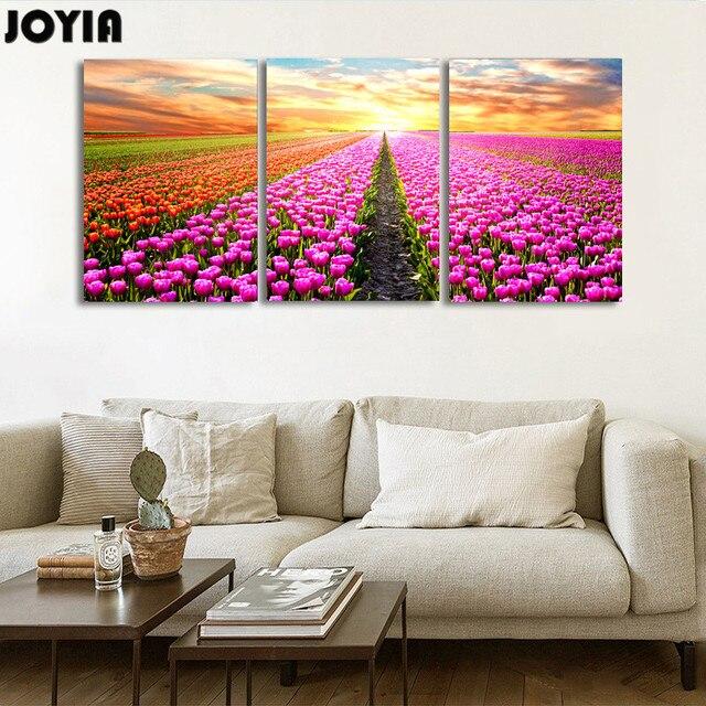 3 Piece Wall Decor Painting Set Tulip Color Flower Canvas Art ...