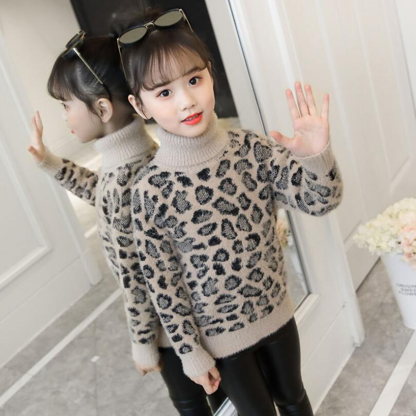 6eff768c6 2019 Spring Winter Children's Clothing Long Sleeve Turtleneck Toddler  Teenage Girls Sweater Tops Leopard Kids Pullover Sweaters