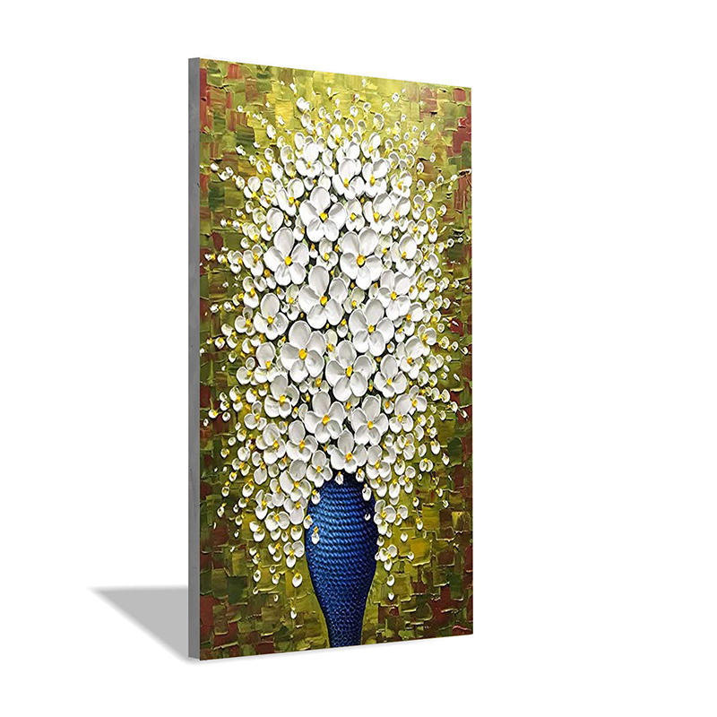 Vase Vertical Rectangle Hand-painted Oil Painting 3D Living Room Corridor Room House Interior Wall Art Decorative Painting