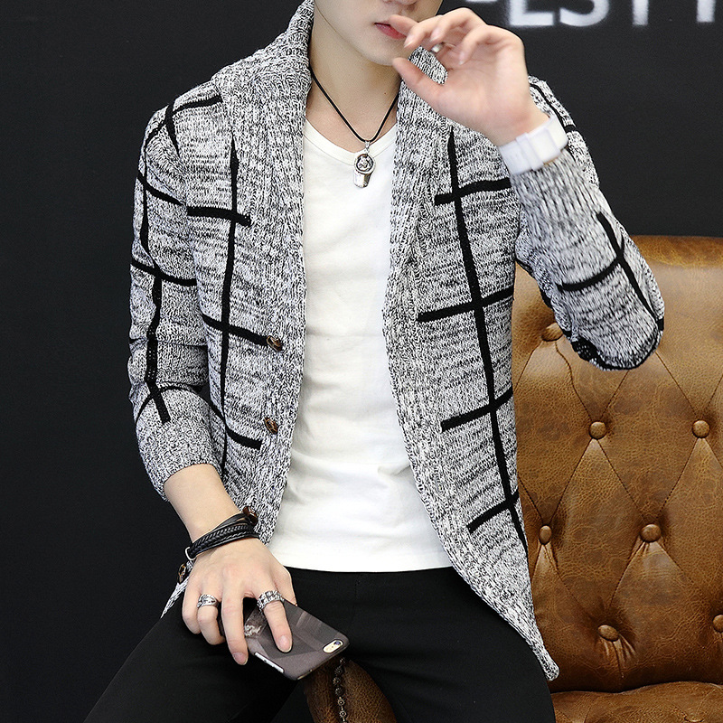 Spring And Autumn Men's New Jackets Men's Handsome Knit Cardigan Male V