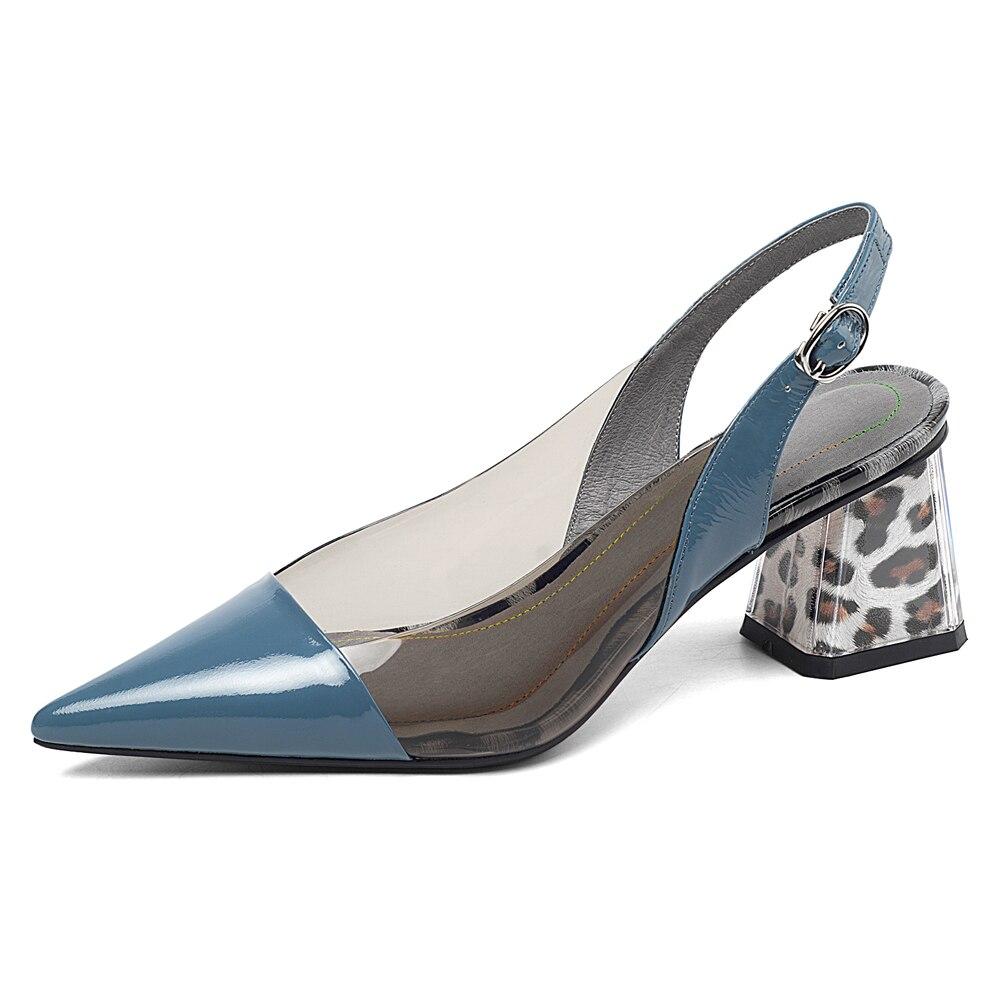 ANNYMOLI los tacones altos de las mujeres Sandalias Zapatos grueso de cuero genuino zapatos de tacón alto transparente hebilla bombas señoras tamaño 41-in Zapatos de tacón de mujer from zapatos    2