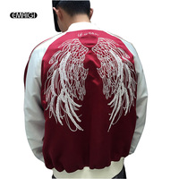 Couple Lovers Wing Embroidery Baseball Jacket Men High Street Fashion Hip Hop Casual Coat For Men