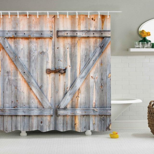 Vintage Rustic Barn Shed Farm Wood Door Bathroom Shower Curtain Decor 180X180cm