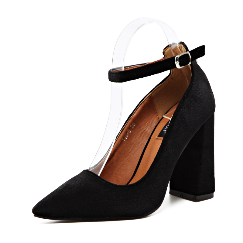 New women pumps ankle strap buckle pointed toe high heels shoes woman party wedding dress OL ladies thick heels shoes size 35-39 egonery buckle strap faux leather thick high heels fashion style ladies party shoes women s shoe plus size woman pumps