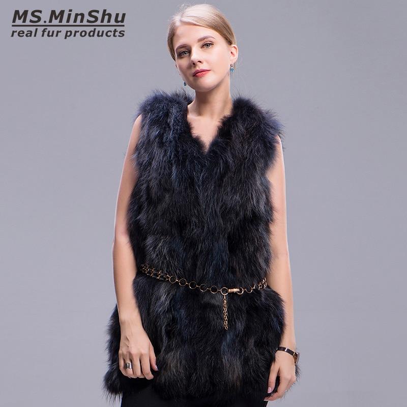 Ms. MinShu Marque Réel Fourrure De Raton Laveur Gilet Sans Manches Mode Femmes Manteau De Fourrure D'hiver De Fourrure Épaisse Veste Longue Fourrure De Renard gilet