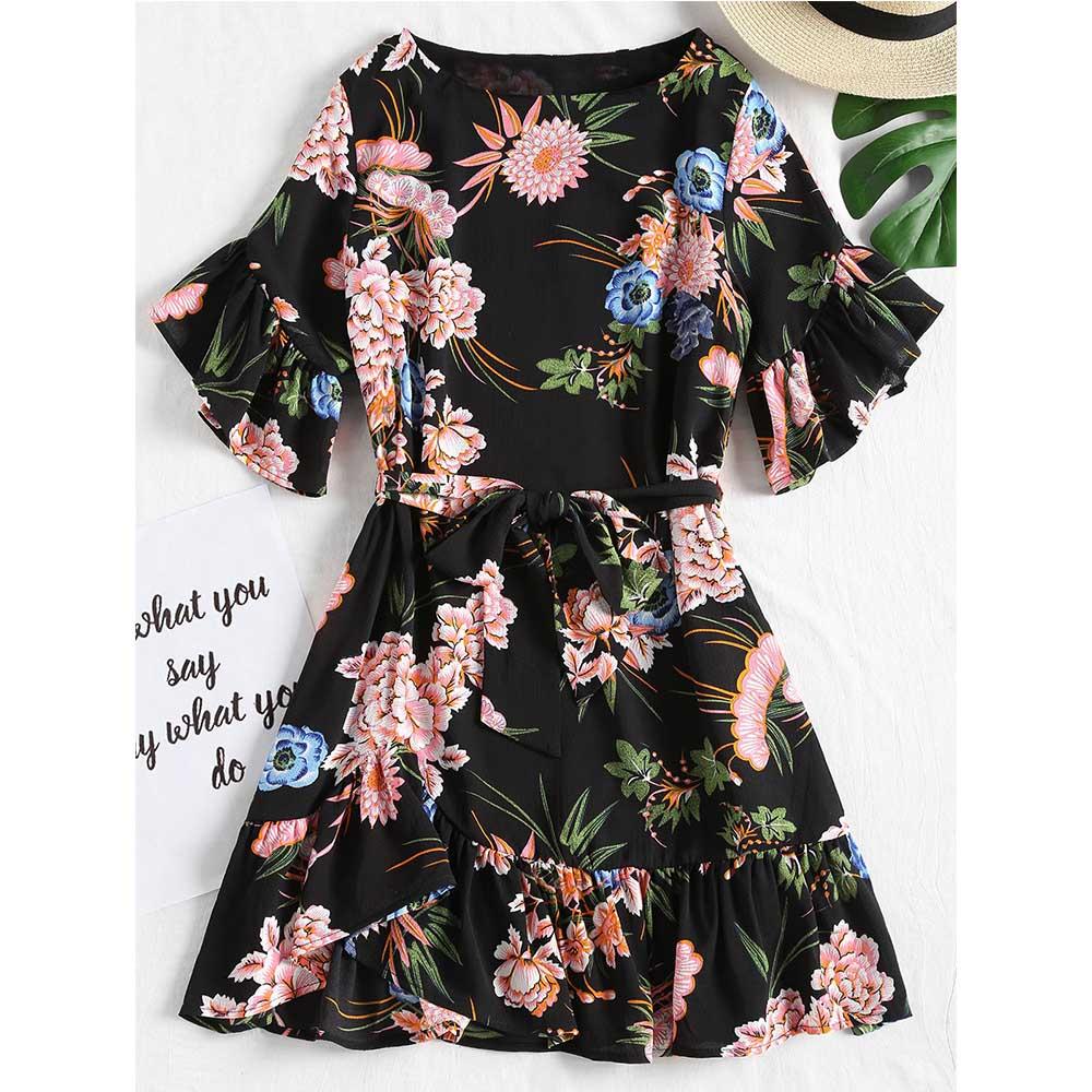 ZAFUL Flower Belted Flounces Mini Dress 2018 New Ruffles Dress Multicolor Short Sleeves O Neck Dress Beach Summer Dresses Robe