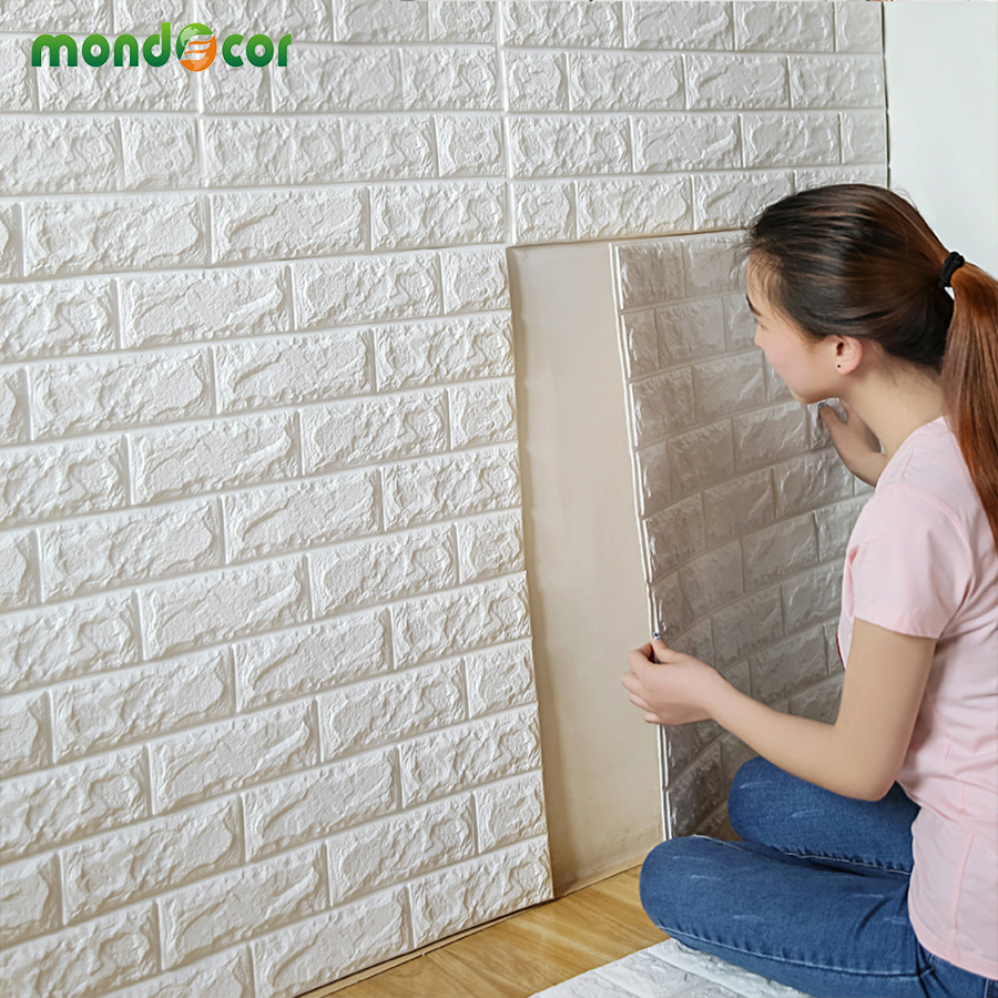 70 cm X 77 cm PE Forma 3D Wall Sticker Cucina Soggiorno 3D Mattoni ...