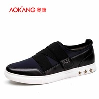 Aokang 2016 New Arrival Men Shoes Leather And Spandex Fabric Flat Shoes Casual Shoes Young Men