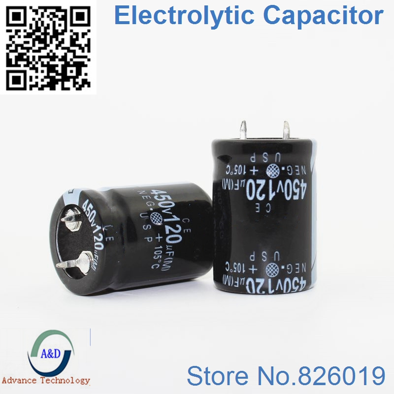 15pcs/lot 450v 120uf Radial DIP Aluminum Electrolytic Capacitors size 22*30 120uf 450v Tolerance 20% image