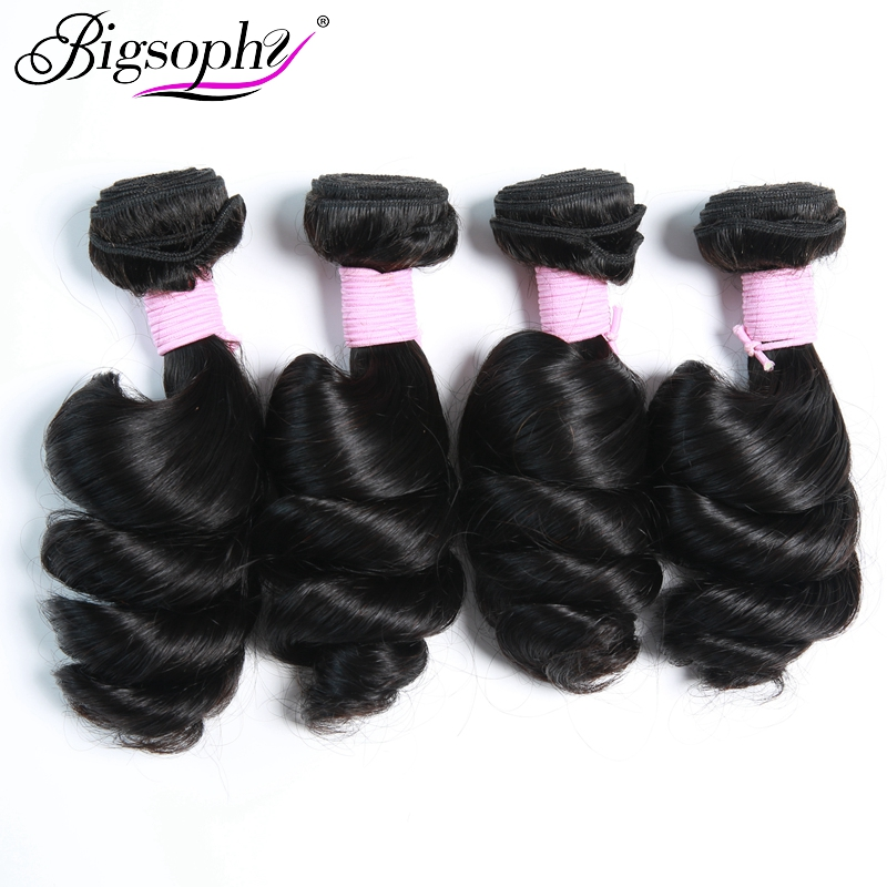 Bigsophy Brazilian Hair Wave Bundles Loose Wave Human Hair 4 Bundles Deal Remy Hair Extensions Original Hair Weft Natural color