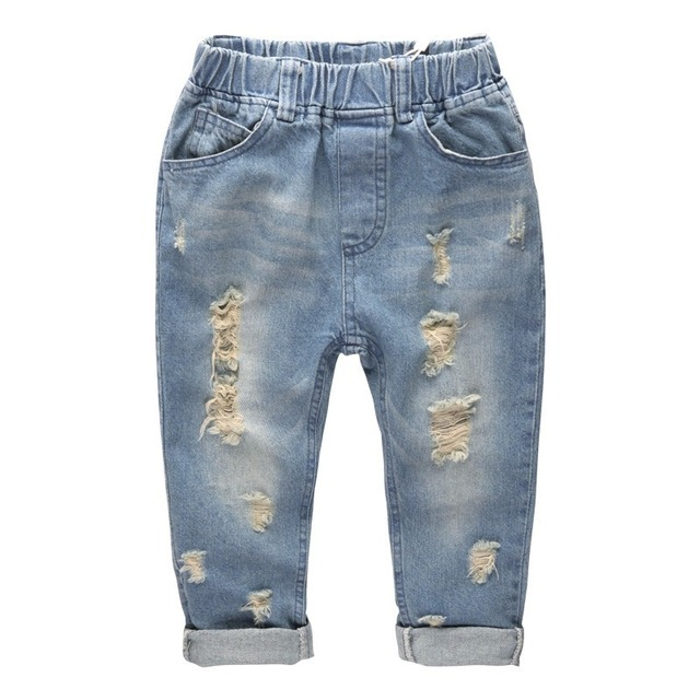 c47f99edb Alta calidad Pantalones cortos rasgados Niños azul Niñas azul Vaqueros Pantalones  moda Niño Jean juego para