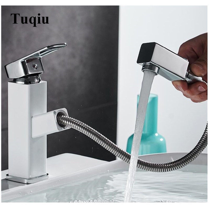 White and Chrome Bathroom Pull out basin faucet Single Lever Hot and Cold Sink Tap Mixer