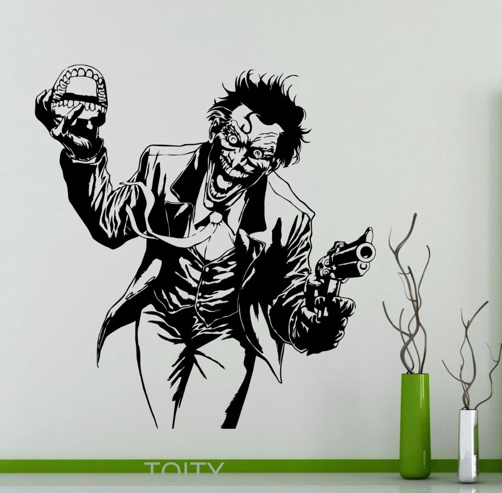 Heath ledger joker wall sticker dc marvel comics superhero vinyl decal home interior decoration room art mural