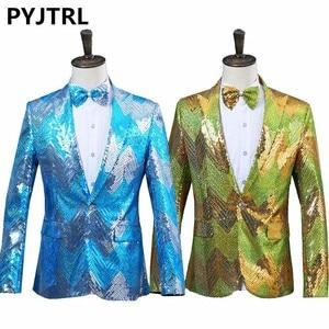 Image 1 - PYJTRL New Men Gradual Blue Green Sequins Shiny Party DJ Singer Stage Show Suit Jacket Wedding Prom Performance Blazer Design