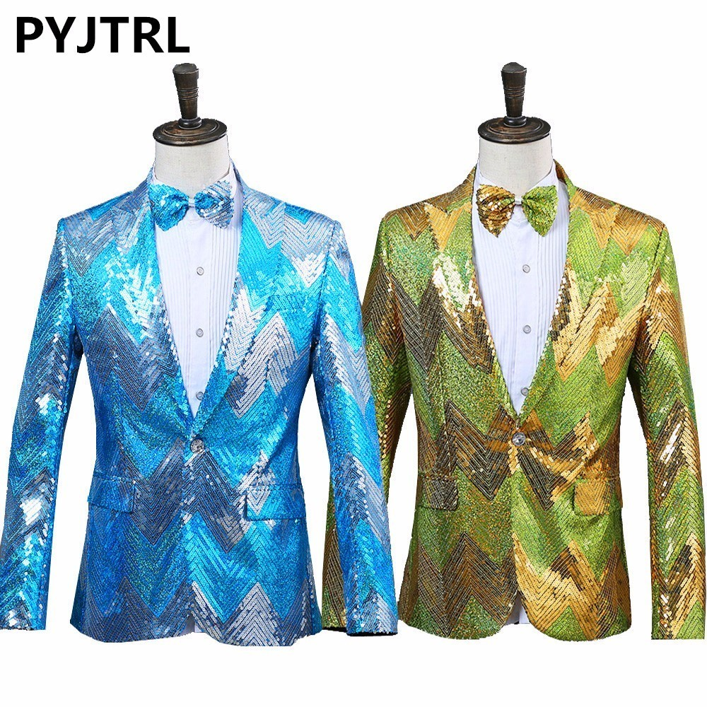 PYJTRL New <font><b>Men</b></font> Gradual Blue <font><b>Green</b></font> <font><b>Sequins</b></font> Shiny Party DJ Singer Stage Show Suit <font><b>Jacket</b></font> Wedding Prom Performance Blazer Design image