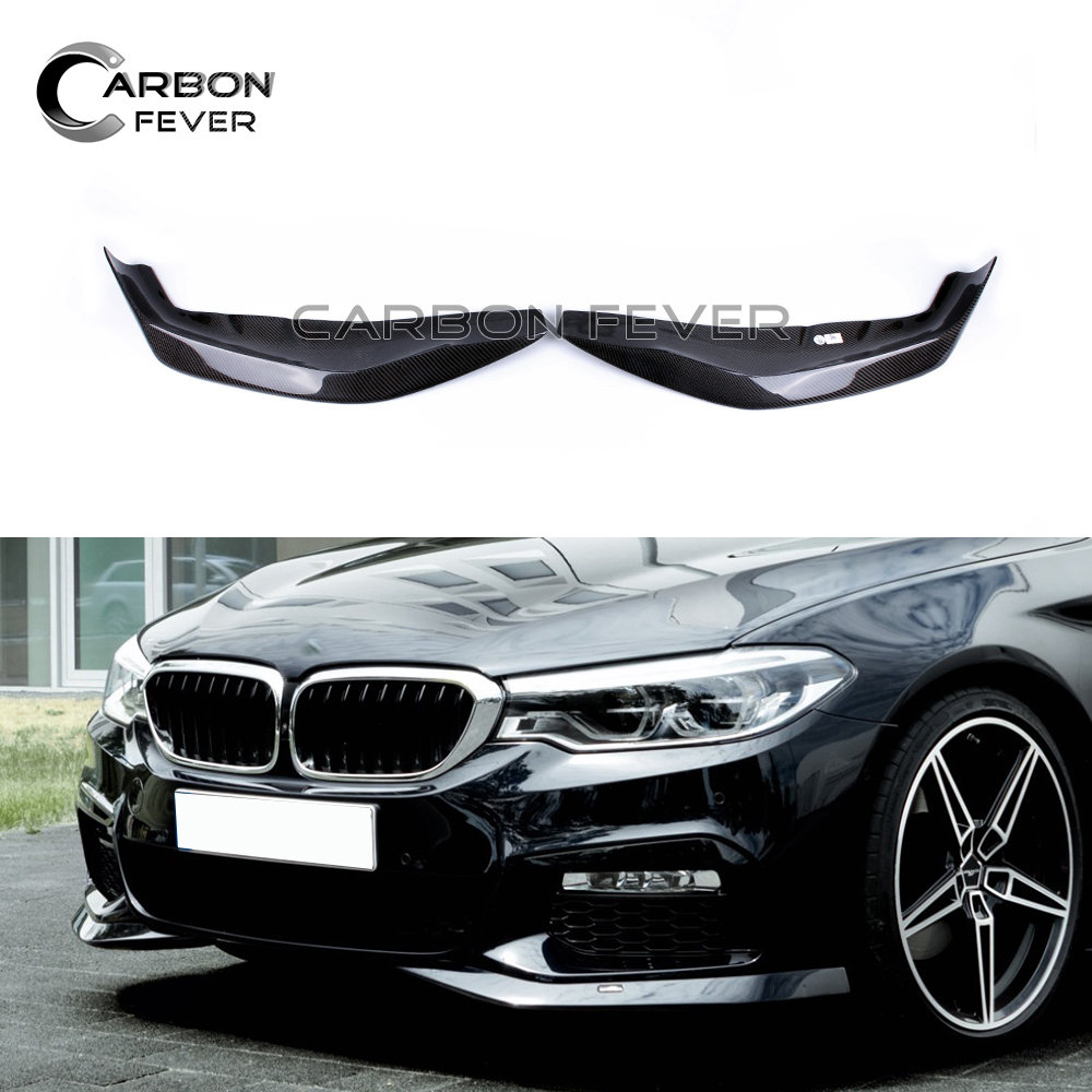 Carbon Fiber Front Bumper Lip Splitter Corner Spoiler Lip For BMW 5Series Sport Style <font><b>G30</b></font> <font><b>520i</b></font> 530i 540i M5 Car Protection Part image