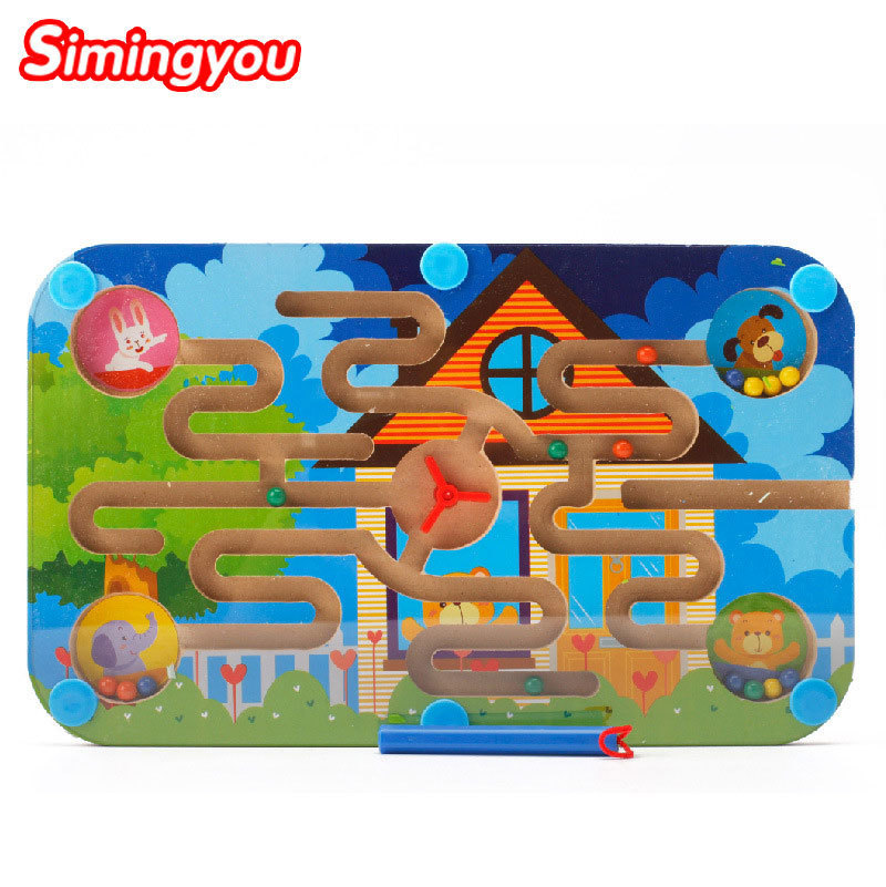Simingyou Wood Magnetic Maze Game Magnetic Pen Labyrinth Board Chess Intelligence Games A50-3105 Drop Shipping