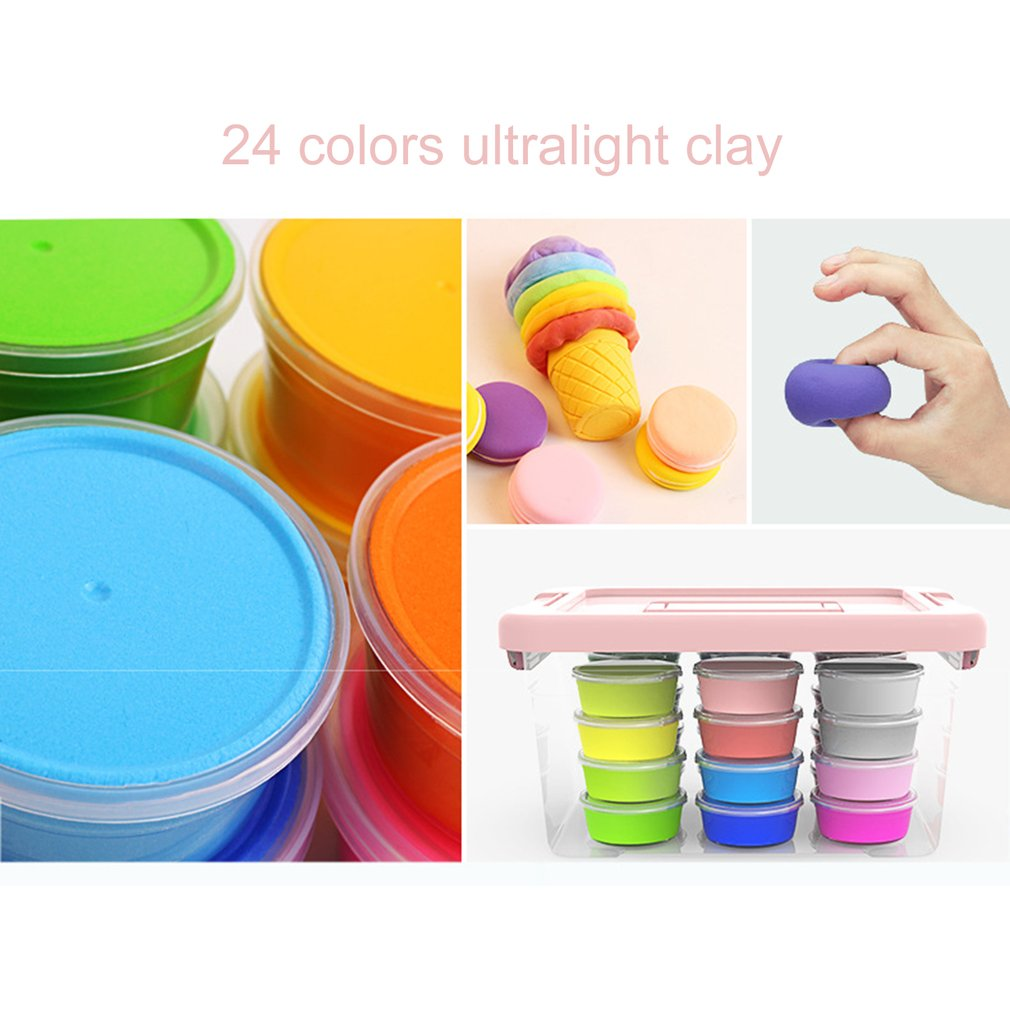 Hot 24 Colors Ultra-light Clay Handmade Non-toxic Plasticine Mud Fluffy Floam Putty Stress Relief Kids DIY Educational Toys New