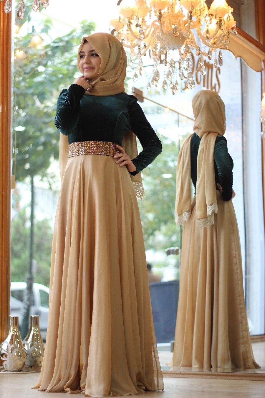 Muslim Dress Sash Beaded Sequins Long Evening Dresses Hijab A Line