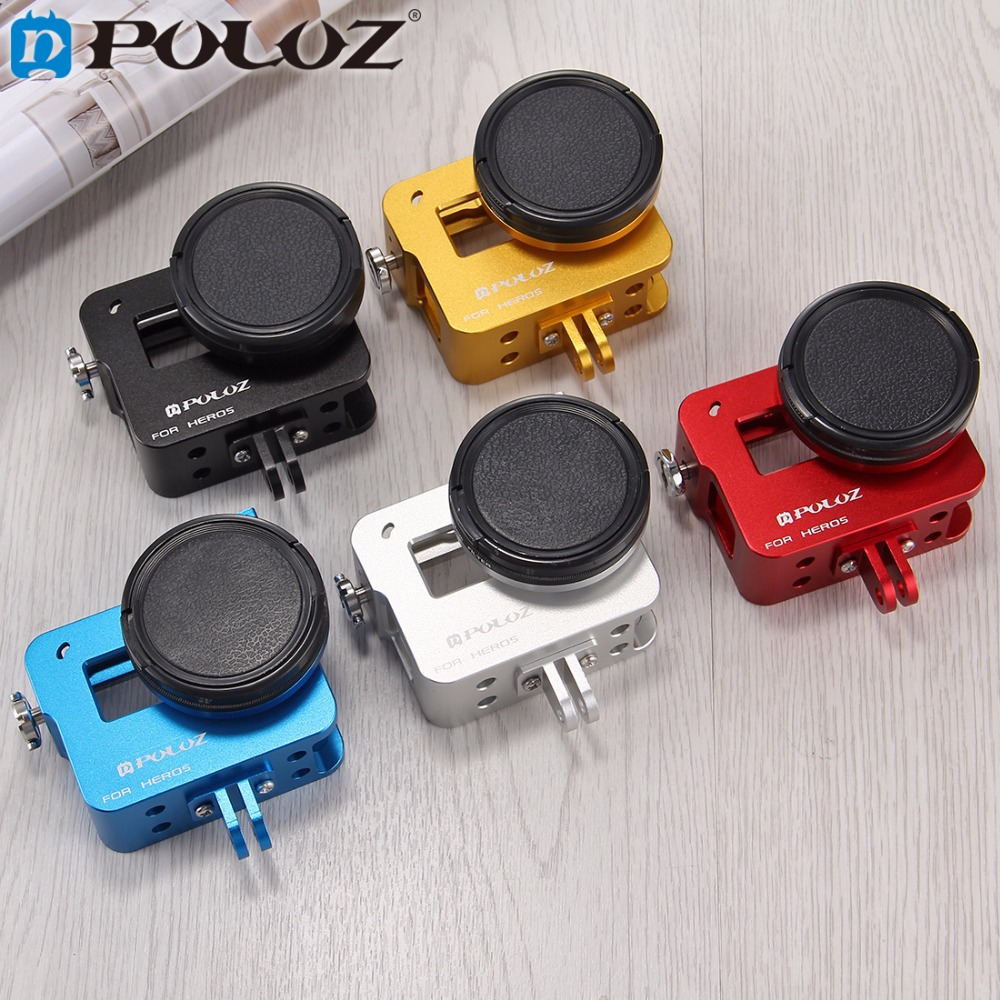 PULUZ for GoPro Accessories Housing Shell CNC Aluminum Alloy Protective Cage W/ Insurance Frame UV Lens for GoPro HERO 6 HERO 5 gopro accessories aluminum alloy protective frame shockproof housing case metal with lens cap for gopro hero 5 black camera