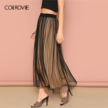 COLROVIE Black Elastic Waist Striped Mesh Overlay Elegant Women Long Skirt 2019 Korean Style Stretchy Office Ladies Skirts