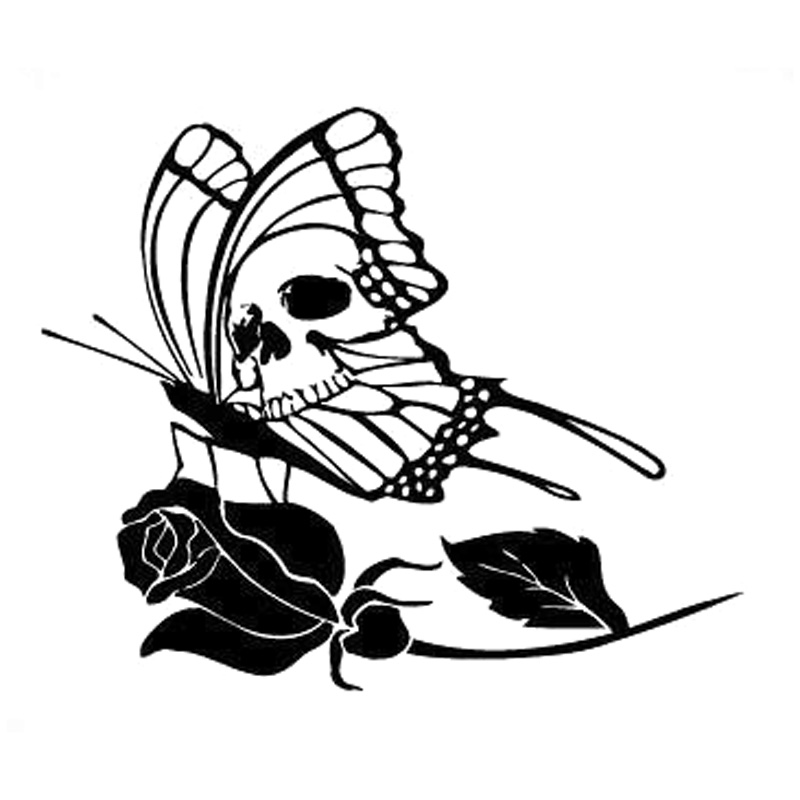 15.8cm*13.2cm Tribal Tattoo Butterfly Skull Rose Flower