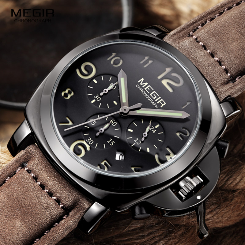 Megir fashion casual top brand quartz watches men leather sports watch man business wrist watch male luminous chronograph hour цена