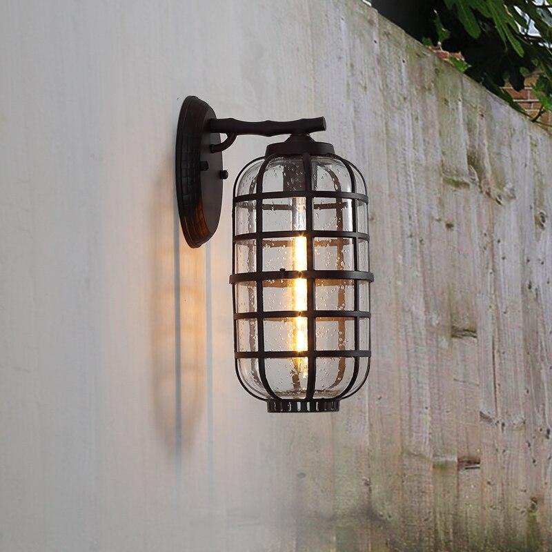 Винтаж Открытый Бра водонепроницаемый вилла наружные Бра Настенные светильники дверь Сад света стекла солнце номер терраса светодиодные л