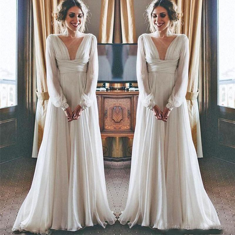 Modest Boho Beach Wedding Dresses 2019 Long Sleeves V Neck Plus Size Chiffon Cheap Summer Maternity Country Greek Bridal Gowns