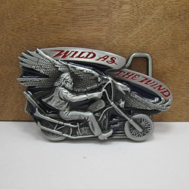 BuckleClub wholesale zinc alloy retro color enameled MOTOR DRIVERS jeans gift belt buckle FP-02170 for men 4cm width loop