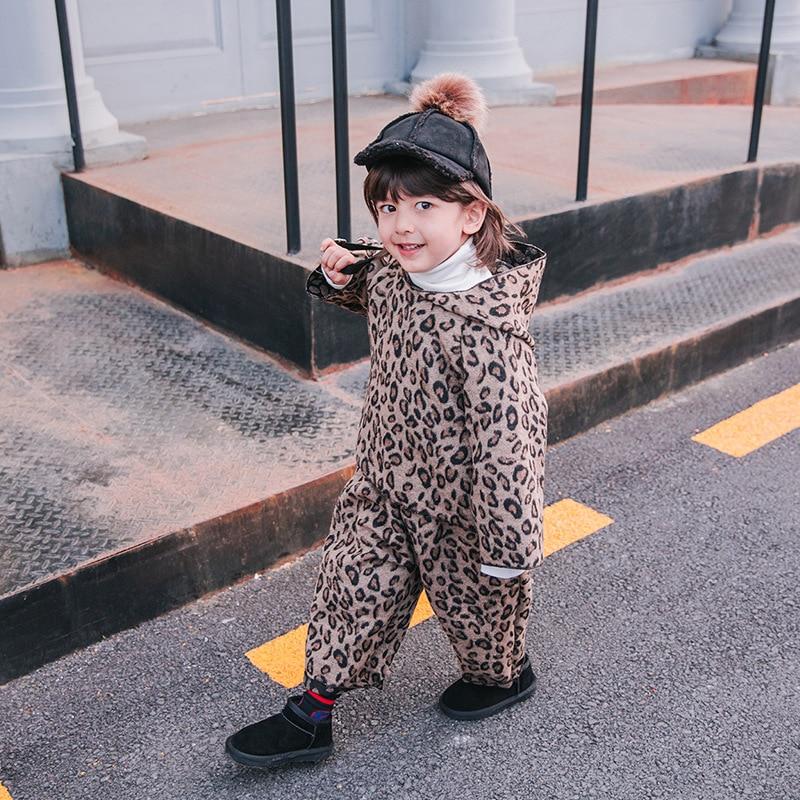 Enfants 2018 hiver léopard pull costume garçon nouveau vêtements pour enfants océan bébé chaud marée sport costume
