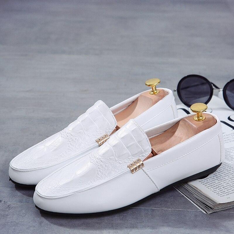 Casuais Black orange Britânicos Sapatos Branco Maré Cabeça Dos Redonda Preguiçosos Homens Primavera Juventude Selvagens Peas white Tendência f6TZPwn