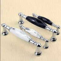 96mm 128mm Top Quality Clear Black K9 Crystal Furniture Handles Silver Chrome Wine Cabinet Dresser Door